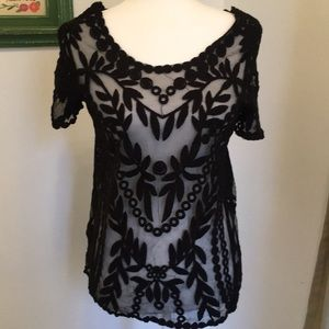 NWT Black Lace Sheer Blouse